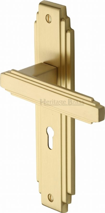 M Marcus Heritage Brass AST5900SB Astiora Door Handle on Lock Backplate Satin Brass